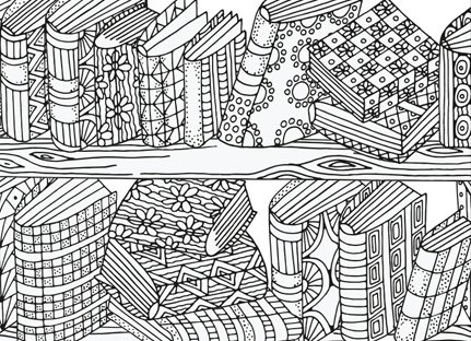 Bookshelf Coloring Page